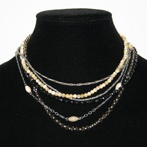 Multilayered beaded mother of pearl shell necklace